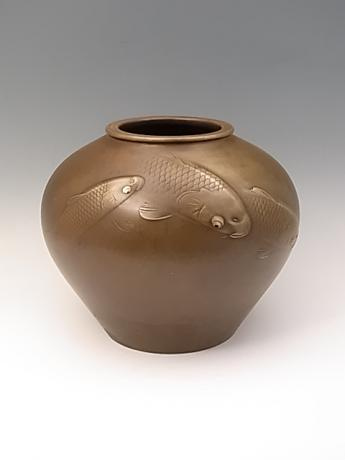 JAPANESE 20TH CENTURY BRONZE VASE WITH KOI DESIGN<br><font color=red><b>SOLD</b></font>