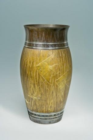 JAPANESE EARLY 20TH CENTURY BRONZE FISH DESIGN VASE BY MATSUBARA HARUO (1907-1982)<br><font color=red><b>SOLD</b></font>