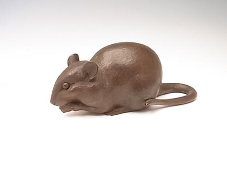 JAPANESE 20TH CENTURY WOODEN OKIMONO OF RAT BY OHNO MEIZAN<br><font color=red><b>SOLD</b></font>