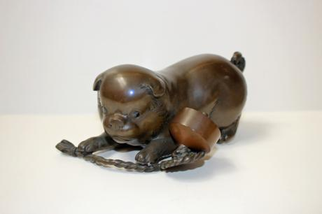 JAPANESE EARLY 20TH CENTURY BRONZE PUPPY OKIMONO BY MASATOSHI<br><font color=red><b>SOLD</b></font>