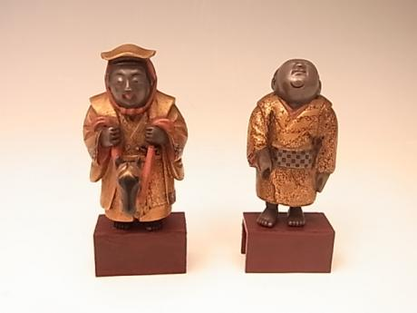JAPANESE MEIJI PERIOD PAIR OF LACQUERED DOLLS<br><font color=red><b>SOLD</b></font>