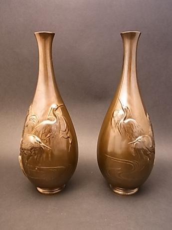 JAPANESE E. 20TH CENTURY PAIR OF BRONZE VASES BY MIYAO<br><font color=red><b>SOLD</b></font>