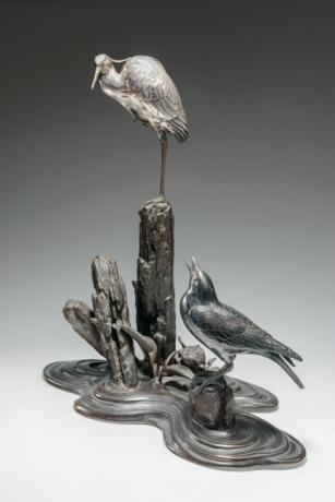 JAPANESE MEIJI PERIOD BRONZE WITH SILVER EGRET KORO OKIMONO<br><font color=red><b>SOLD</b></font>