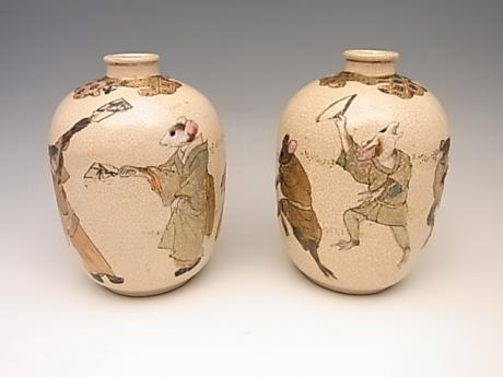 JAPANESE EARLY 20TH CENTURY PAIR OF SATSUMA VASES<br><font color=red><b>SOLD</b></font>