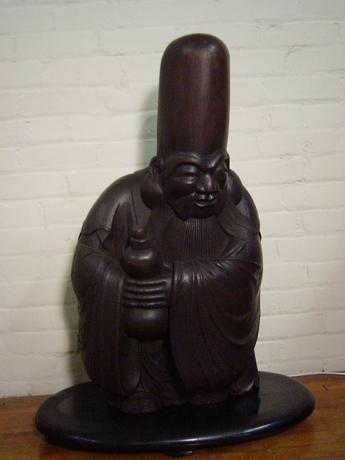 19TH CENTURY KEYAKI WOOD CARVING OF FUKUROKUJYU<br><font  color=red><b>STOLEN</b</font>