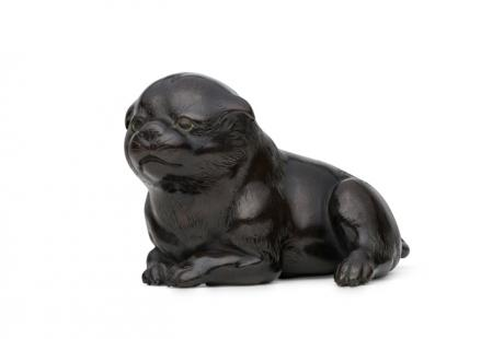 JAPANESE LATE EDO PERIOD  BRONZE PUPPY