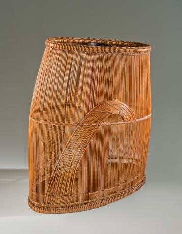 JAPANESE 20TH CENTURY BAMBOO FLOWER BASKET BY LNT MAEDA CHIKUBOSAI II<br><font color=red><b>SOLD</b></font>