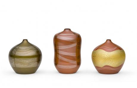 JAPANESE 21ST CENTURY INLAID BRONZE VASES (3) <br><font color=red><b>SOLD</b></font>