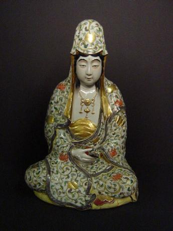 MEIJI PERIOD KUTANI WARE KANNON FIGURE<br><font color=red><b>SOLD</b></font>