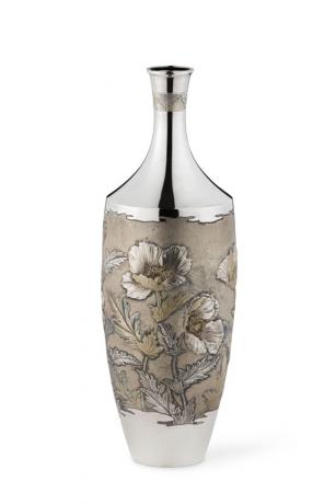 JAPANESE EARLY 20TH CENTURY SILVER VASE WITH FLORAL DESIGN BY IZUMI SEIJI<br><font color=red><b>STOLEN</b></font>