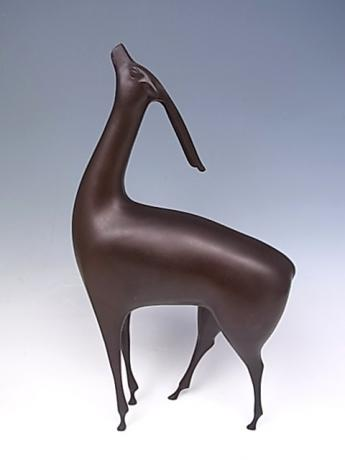 JAPANESE EARLY 20TH CENTURY BRONZE DEER BY NOSE MASAO<br><font color=red><b>SOLD</b></font>