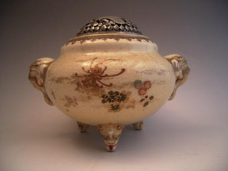 MID 19TH CENTURY SATSUMA INCENSE BURNER WITH SILVER HOYA COVER<br><font color=red><b>SOLD</b></font>