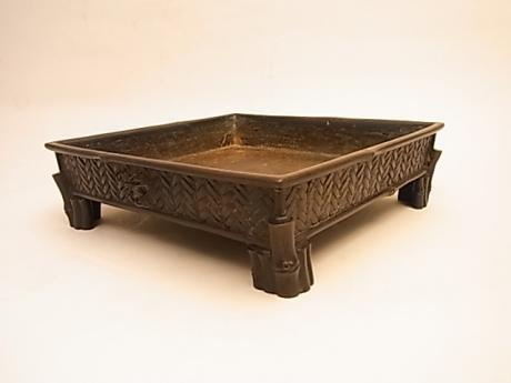 JAPANESE MEIJI PERIOD BRONZE MINI SUIBAN PLANTER WITH SPIDER BY MURATA SEIMIN<br><font color=red><b>SOLD</b></font>