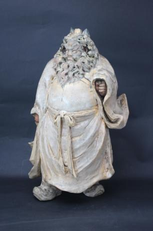 JAPANESE EARLY 20TH CENTURY LARGE SASAKI NIROKU I CERAMIC SHOKI FIGURE<br><font color=red><b>SOLD</b></font>