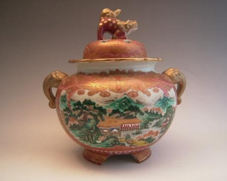 JAPANESE MID-EARLY 20TH C. KUTANI INCENSE BURNER<br><font color=red><b>SOLD</b></font>