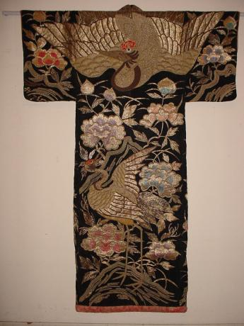 MEIJI PERIOD STAGE COSTUME BLACK VELVET KIMONO WITH EMBROIDERY<br><font color=red><b>SOLD</b></font>