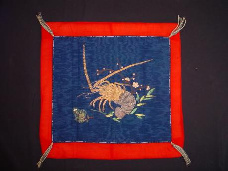 MEIJI PERIOD HAND EMBROIDERED SPINEY LOBSTER FUKUSA