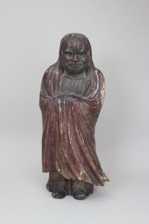 JAPANESE 19TH CENTURY CARVED AND PAINTED DARUMA FIGURE<br><font color=red><b>SOLD</b></font>