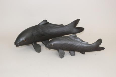 JAPANESE 20TH CENTURY BRONZE PAIR OF KOI OKIMONO<br><font color=red><b>SOLD</b></font>