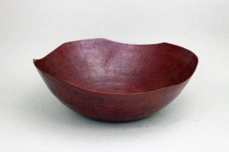 JAPANESE LATE 20TH C. HAND HAMMERED COPPER UNEVEN EDGED BOWL <br><font color=red><b>SOLD</b></font>