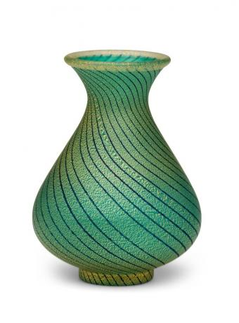 JAPANESE 20TH CENTURY ART GLASS VASE BY IWATA HISATOSHI<br><font color=red><b>SOLD</b></font>