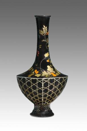 JAPANESE MEIJI PERIOD MIXED METAL VASE BY NOZAWA COMPANY