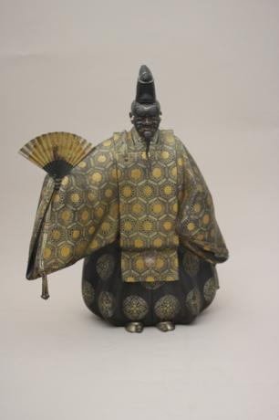 JAPANESE E. 20TH CENTURY BRONZE OKINA WITH SILVER, GOLD AND SHIBUICHI INLAYS BY MITSUYOSHI<br><font color=red><b>SOLD</b></font>