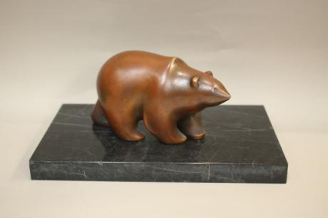JAPANESE 20TH CENTURY BRONZE BEAR BY OSUKE TSUJI<br><font color=red><b>SOLD</b></font>