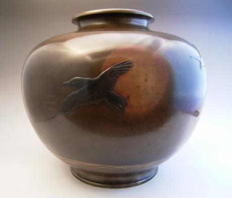 RISING SUN AND CROW DESIGN BRONZE VASE<br><font color=red><b>SOLD</b></font>