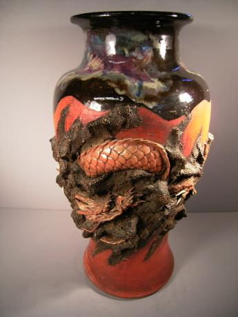 SUMIDAGAWA-WARE LARGE DRAGON VASE<br><font color=red><b>SOLD</b></font>