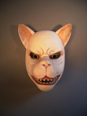 19TH CENTURY KAGURA-MEN - FOX MASK<br><font color=red><b>SOLD</b></font>