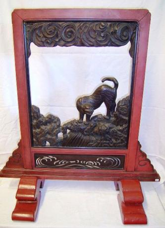 JAPANESE 19TH CENTURY CARVED TIGER SCREEN<br><font  color=red><b>STOLEN</b</font>