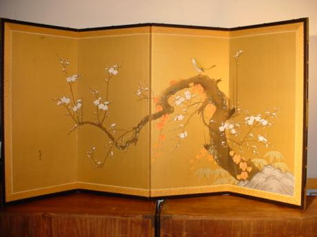 JAPANESE MID 20TH CENTURY 4 PANEL SCREEN<br><font color=red><b>SOLD</b></font>