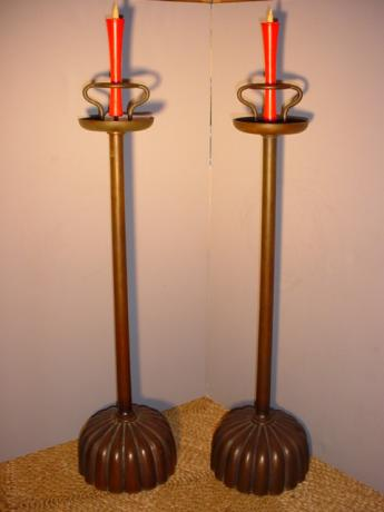 JAPANESE L. 19TH CENTURY PAIR OF BRONZE CANDLESTICKS<br><font color=red><b>SOLD</b></font>