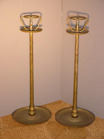 JAPANESE L. 19TH/E. 20TH CENTURY PAIR OF BRONZE CANDLESTICKS<br><font color=red><b>SOLD</b></font>