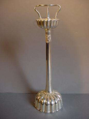 JAPANESE MEIJI PERIOD SILVERPLATED BRONZE CANDLESTICK<br><font color=red><b>SOLD</b></font>