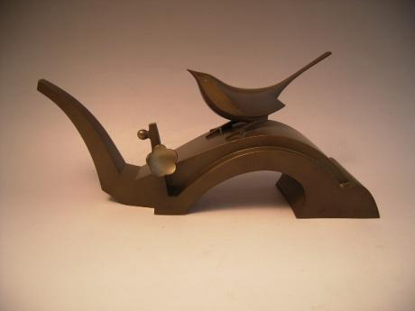 JAPANESE 1930'S ART DECO BRONZE BIRD AND BLOSSOM<br><font color=red><b>SOLD</b></font>