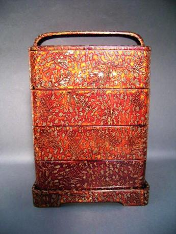 JAPANESE 20TH CENTURY LACQUER LUNCH BOX SET AND STAND<br><font color=red><b>SOLD</b></font>