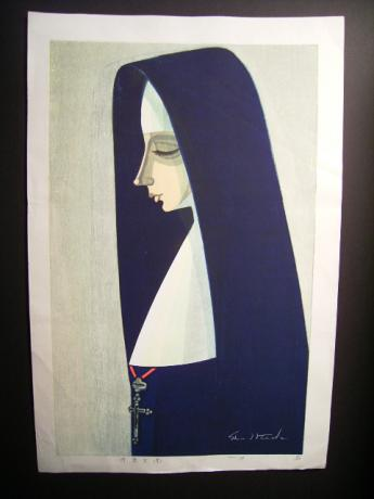 JAPANESE 20TH CENTURY WOODBLOCK PRINT OF NUN BY IKEDA SHU