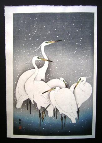 JAPANESE WHITE HERON WOODBLOCK PRINT BY SHOSON OHARA<br><font color=red><b>SOLD</b></font>