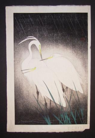 JAPANESE MID 20TH CENTURY WOODBLOCK PRINT OF SNOWY HERON BY HASHIMOTO KOEI<br><font color=red><b>SOLD</b></font>