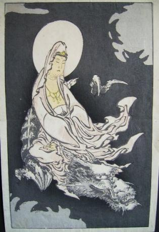 JAPANESE EDO PERIOD HAKUSAI WOODBLOCK PRINT OF GODDESS ON DRAGON<br><font color=red><b>SOLD</b></font>