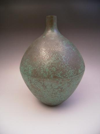 JAPANESE 20TH CENTURY BRONZE VASE BY LIVING NATIONAL TREASURE TAKAMURA TOYOCHIKA<br><font color=red><b>SOLD</b></font>