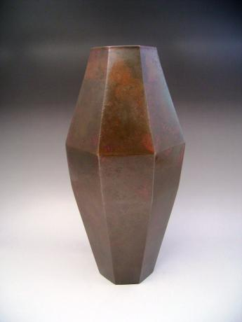 JAPANESE E. 20TH CENTURY OCTAGONAL BRONZE VASE BY SHUKOU<br><font color=red><b>SOLD</b></font>