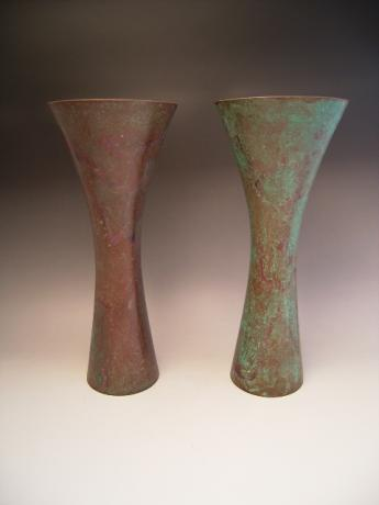 PAIR OF JAPANESE MID 20TH CENTURY BRONZE TRUMPET SHAPED VASES<br><font color=red><b>SOLD</b></font>
