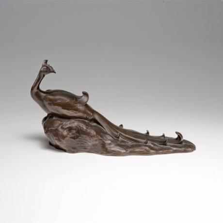 JAPANESE EARLY 20TH CENTURY BRONZE PEACOCK OKIMONO BY TSUDA SHINOBU