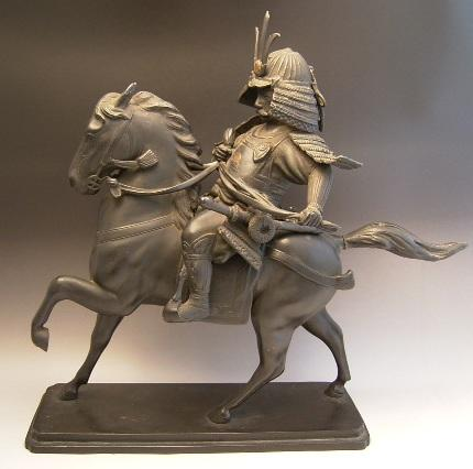 JAPANESE MEIJI PERIOD BRONZE SAMURAI WARRIOR<br><font color=red><b>SOLD</b></font>