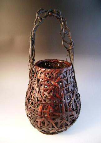 JAPANESE MID 20TH CENTURY BAMBOO BASKET<br><font color=red><b>SOLD</b></font>