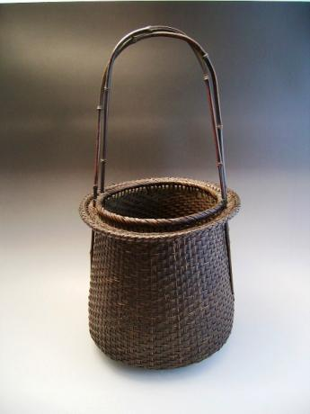 JAPANESE MID 20TH CENTURY BAMBOO FLOWER BASKET, UNSIGNED<br><font color=red><b>SOLD</b></font>