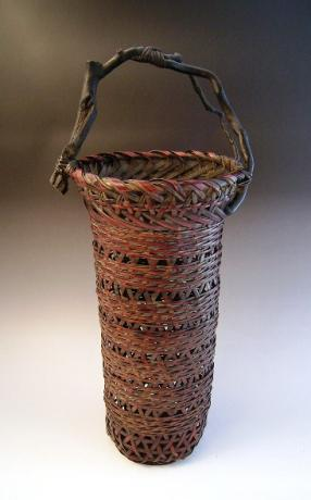 JAPANESE EARLY 20TH CENTURY BAMBOO BASKET, UNSIGNED<br><font color=red><b>SOLD</b></font>